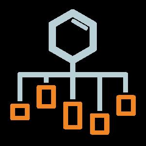 Grafica di molecola da cui discendono rami ed elementi